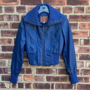 Miss London Blue Faux Leather Jacket